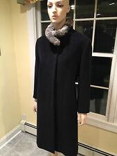 CINZIA ROCCA DUE Black Cashmere/Wool & Chinchilla Fur Long Coat SIZE 16 X- Large