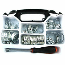 Assorted 35 Piece Hose Clamp Jubilee Clip Set with Driver Tool Stainless Steel