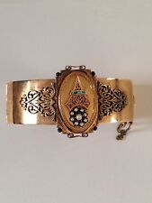 ANTIQUE VICTORIAN ESTATE 14K Gold Bracelet Turquoise Seed Pearls Scroll Unique