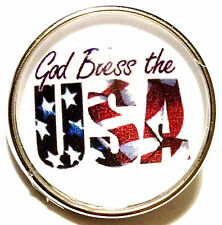 USA Flag Red White Blue American 20mm Snap Interchangeable Fits Ginger Snaps