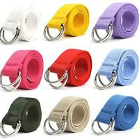 10 Colors Fashion Canvas Webbing Waist Casual Unisex D Ring Canvas Belt