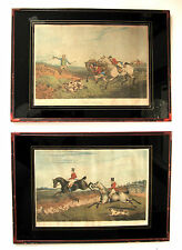 Pair of HENRY ALKEN framed FOX HUNTING prints, 1828 Bentley aquatints handcolor