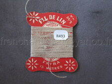 R493 Mercerie vintage ancienne carte FIL DE LIN N °24/3  beige clair Thread Card