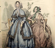 LE FOLLET 1845 Hand-Colored Fashion Plate #1237 Blue & Brown Gowns ORIG.PRINT