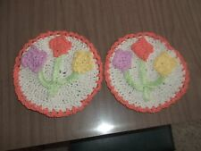 Pair of Orange Floral and Beige Cotton Crocheted Dishcloths Trivets