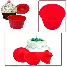 SILICONE MOULD 3PC GIANT JUMBO BIRTHDAY CUPCAKE BAKE BAKING MEGA BIGTOP CUP CAKE