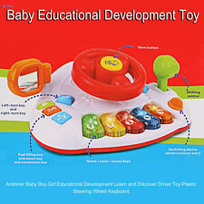 Pre School Toy Kids Steering Wheel Driver Car Dashboard Musical Piano keys sound
