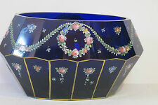 ANTIQUE GLASS BOWL,HAND PAINTED WITH ENAMEL FLOWERS,BEAUTIFUL BLUE COLOR