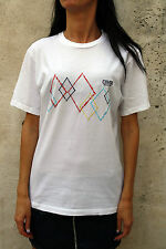 Coveri Moving Womens Cotton rhombus Multi T-Shirt Geometric Design 90s White XL