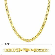 """5.95mm 20"""" 30.00gm 14k Gold Yellow Men's Mariner Concave Link Chain Necklace"""