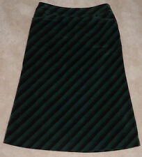 Un Dix Cors Green Black Diagonal Striped Skirt Size 2 Lined Below Knee Japanese