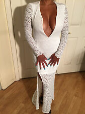 White Stretch Lace Full Length Party Dress w/ Open Key hole Deep V Plunge S/M