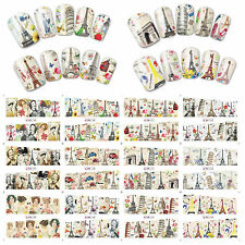 12 Sheets Nail Art Water Transfer Decal Sticker Great Building BN145-156