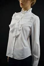 Ralph Lauren White Ruffled Blouse with Cut Crystal Button -Size Medium-`NWT