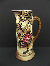 "Royal Nippon Nishiki Tankard Pitcher Rose and Grape Moriage Marked 12"" H Antique"