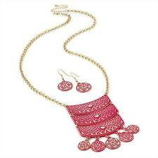 Gorgeous  gold tone & pink enamel tribal design chain necklace and earring set