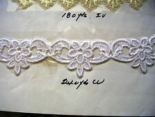 "Exclusively fine Venise lace floral trim 1 1/2"" Applique Rayon White A3"