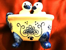 Vintage Delft Blue Holland Ducks in Bath Tub Salt & Pepper Shakers Hand Painted