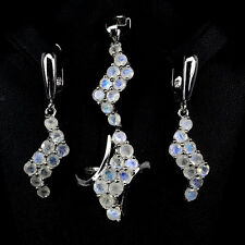 Silver 925 Genuine Natural Moonstone Pendant Earring & Ring Set Sz P.5 (US 8)