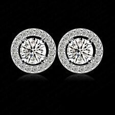 Platinum Plated Silver Pave Crystal/Cubic Zirconia Diamonte Round Halo Earrings