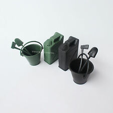 """2 Set OF 1/6 Scale Bucket Shovel Axe Oil Can Black and Green For 12"""" Toy Soldier"""