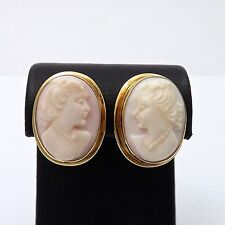 Vintage 14k Gold Carved Angel Skin Coral Cameo Non Pierced Screw on Earrings