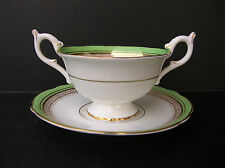 Coalport Algonquin Green Gold Scalloped Cream Soup Bowl Saucer Set #9110