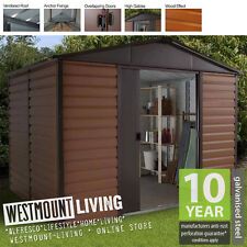 NEW 8x6 8x6FT 8 x 6 FT METAL STEEL WOODGRAIN WOOD EFFECT SHED *FREE ANCHOR KIT*