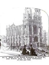 Antique Stereoview Card Ruins of Synagogue Sutter St Great Earthquakes 1865 1868