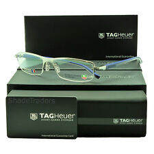 TAG HEUER AUTOMATIC SEMI RIMLESS GLASSES FRAME PURE BLUE GREY CHIC 0825 004 57