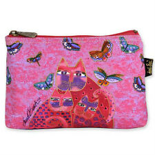 LAUREL BURCH - FELINE MINIS COSMETIC BAG - FUCHSIA CATS - NWT!