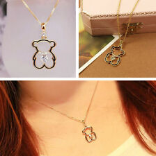 Fashion Women Cute Little Bear Necklace Hollow Love Bear Necklaces Gold Plated