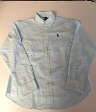 NWT POLO RALPH LAUREN LADIES LS BUTTON DOWN SHIRT TURQUOISE & WHITE PONY SZ 10