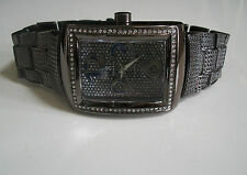 BLACK HEMATITE FINISH SIMON & CO MEN'S CLEAR CRYSTAL HIP HOP BLING FASHION WATCH