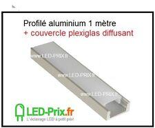 profilé ALU pour Ruban LED + couvercle plexiglas diffusant 1 mètre