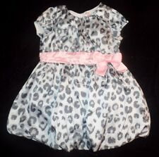 baby girls size 18 month LEOPARD POOFY BUBBLE DRESS gray pink CHEROKEE BOW NICE!