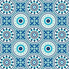 Fabric Medallions Seaside Blue on White Flannel 2 yards (+or- an inch) S