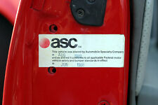 """ASC McLaren """"Vehicle Altered By Automobile Specialty"""" decal (date stamped)"""