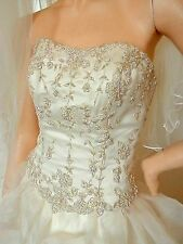 Rosetta Nicolini 2-Piece Ivory Wedding Dress:Beaded/Satin/Tulle:Size12:Excellent