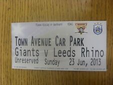 23/06/2013 Ticket: Rugby League - Huddersfield v Leeds (Official Car Park). Any