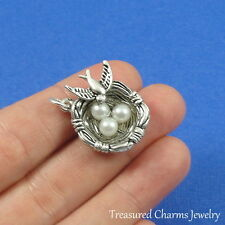 Silver Bird's Nest with Eggs Charm - Bird Nest Robin Sparrow Spring Pendant NEW