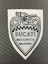1 Stickers Scudetto DUCATI Meccanica Vintage White & Black 3D resinato 50 mm