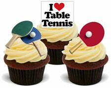 NOVELTY TABLE TENNIS MIX STAND UP Edible Cake Toppers Birthday Bats Ping Pong