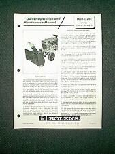 """BOLENS TRACTOR SNOWTHROWER ATTACHMENT MODEL 15104-01 -02 -03 OWNER""""S MANUAL 6/72"""
