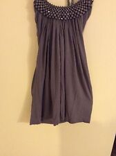 ANTHROPOLOGIE Womens Sz S Brown Halter Tank Top -Long Flowing - Beaded Neck