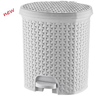 21 Litre RATTAN White Pedal Bin Bathroom Waste Dustbin Kitchen Wicker Effect