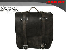 La Rosa Rustic Black Leather Postal Universal Harley Softail Bracket Saddlebag