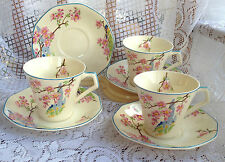 "3 Royal Tudor Ware""Bloosom Time"" Tea Cup & Saucer- Art Deco Hand Painted  (602)"