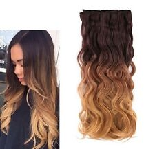 Chocolate brown to caramel Clip In Secret Miracle Wire Soft Wavy Hair Extensions