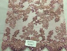 Dusty Rose Corded Flowers Embroider With Sequins On Mesh Lace Fabric- Yard